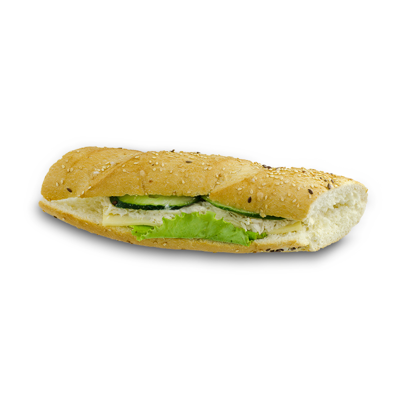 Baguette sandwich with chicken breast